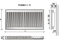 Радиатор стальной панельный Purmo с боковым подключением Тип С11