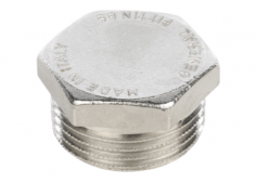 Заглушка латунная никелированная НР Stout