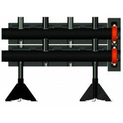 Коллектор напольный из черной стали на 2 контура, Meibes 700 кВт, 30 м3/ч, (состоит из 2-х частей)