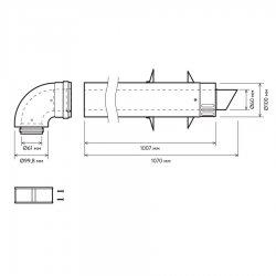 Комплект коаксиального дымохода ЛЕМАКС «PRIME-V» 60/100, L=0,75м